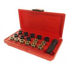 Набор инструментов для восстановления резьбы свечей зажиг. (втулки M12х1.25,L=12.7мм,19мм) 16шт. JTC