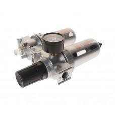 Блок подготовки воздуха (лубрикатор,осушитель) 3/8' пластик. переключ. 150PSI 2500л/мин. 125мл JTC