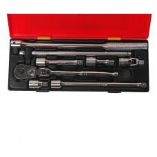 Набор инструментов 8 предметов слесарно-монтажный 1/2' (ключ трещот.,воротки,удлинит.) в кейсе JTC